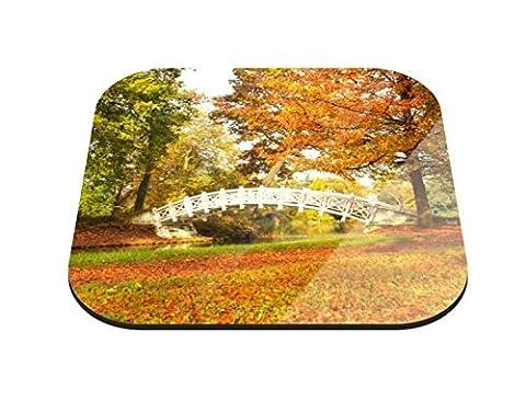 Untersetzer Weisse Brücke im Wald B x H: 10cm x 10cm - 20er Pack von Klebefieber®