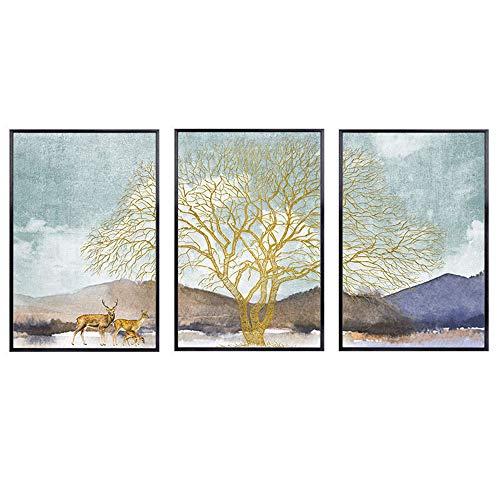 Comfot 3 Piezas de árbol Antiguo Tema de Ciervos Lienzo sin Marco Pintura de Pared decoración del hogar Dormitorio Sala de Estar Pintura Decorativa,001