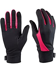 TrailHeads Elements Touchscreen Running Gloves for Women- black/neon pink