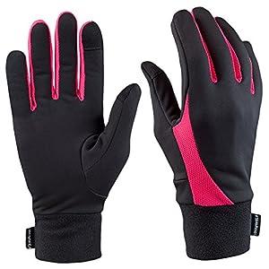 TrailHeads Laufhandschuhe Leichte Handschuhe mit Touchscreen-Funktion | Die Elemente – schwarz/helle Korallenfarbe