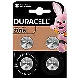 Duracell 2016, Batteria Bottone al Litio 3 V, Specialistica Elettronica, CR2016, DL2016/CR2016, Progettate per l'Uso su Chiavi con Sensore Magnetico, Bilance, Dispositivi Medici, Confezione da 4