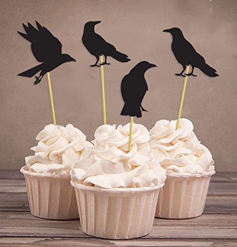 Darling Souvenir, Halloween-Party-Schwarz-Krähe-Kuchen-Deckel, Party-Nachtisch-Kuchen-Dekorationen - Packung mit 20