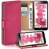 moex Samsung Galaxy S5 | Hülle Pink mit Karten-Fach 360° Book Klapp-Hülle Handytasche Kunst-Leder Handyhülle für Samsung Galaxy S5 / S5 Neo Case Flip Cover Schutzhülle Tasche