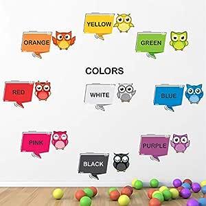 StickMe Baby Kid's PVC Vinyl Cute Birds Colours Names Nursery Pre School Learning Education Creative Wall Sticker (115 X 85 cm, Multicolour)
