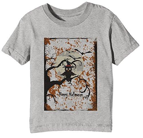 Halloween Eule Kinder Unisex Jungen Mädchen T-Shirt Rundhals Grau Kurzarm Größe S Kids Boys Girls Grey Small Size S