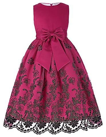 Fille Robe de Cérémonie Soirée Robe sans Manche Col Rond avec Noeud Papillon 11~12 Ans FR8985-1