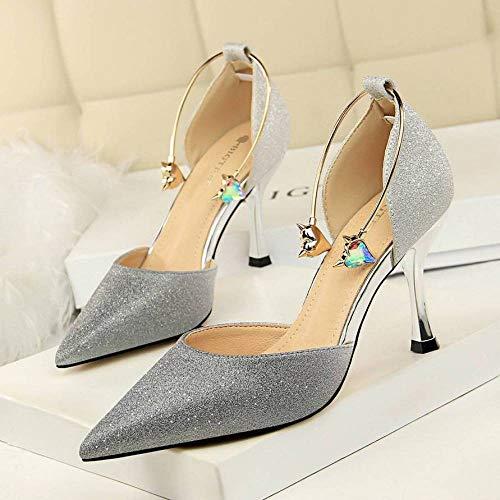 Wisdom High-Heeled Damenschuhe Mit Splicing Farbe Knöchel Dekorative Sandalen Zeigte Schrittweise...