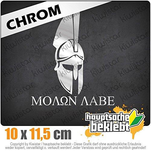 KIWISTAR Sparta 300 Helm Molon labe 11,5 x 10 cm IN 15 FARBEN - Neon + Chrom! Sticker ()