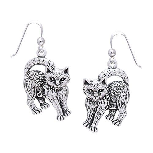 Jewelry Trends Sterling Silber Verspielte Kätzchen Katze Baumeln Ohrringe -