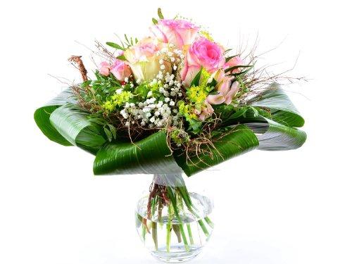 Express! Blumenversand – exklusiver Blumenstrauß – zum Geburtstag – Esperance – mit rosa Rosen Esperance mit Grußkarte deutschlandweit versenden