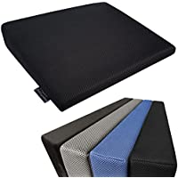 Medipaq - Memory Foam Wedge Cushion for Back Support and Height Boost - Washable, Breathable 3d Mesh Zip Cover - Now with Anti Slip Bottom - (Black)