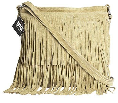 BHBS Femmes Sac à Main de Daim Italien Cuir Tassle Frange Cowgirl épaule à la Mode 32x26 cm (LxH) (179V Natural)