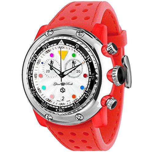 Glam Rock Men's Miami Beach 50mm Red Silicone Band Polycarbonate Case Quartz White Dial Watch GR20137