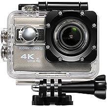 ICONNTECHS IT Sport Action Cam 4K WiFi Ultra HD Impermeabile Lente Grandangolo 170° Telecamere Sportiva Full HD 1080P 60fps Videocamera Subacquea Action Camera e Accessori [Grigio]