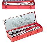 """Kit Bussole/Boccole poligonali 22 pezzi 3/4"""" cromo vanadio con chiave a cricchetto e barra a T portabussole"""