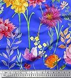 Soimoi Blau Satin Seide Stoff Rose, Dahlie & Poinsettia