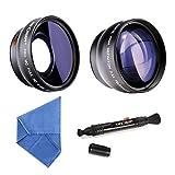 K&F Concept® 58mm Super Weitwinkelkonverter 0.45x Professionell HD Weitwinkel Objektiv Vorsatz mit Makrolinse 2.2X Telephoto Lens Teleobjektiv mit Reinigungstuch Reinigungspinsel für Canon Rebel T5i T3i XTi XS T4i T2i XT SL1 T3 T1i XSi EOS 1000D 600D 450D 100D 650D 700D 550D 400D 500D 300D 1100D and Nikon D7100 D5100 D3100 D300 D90 D70s D40x D3X D7000 D5000 D3000 D300S D80 D60 D3 D5200 D3200 D700 D200 D70 D40 D3S