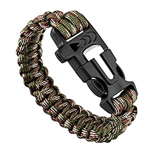 TRIXES Paracord Survival Bracelet with Built in Fire Starter and Whistle Band Camouflage for Hiking Camping...