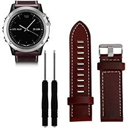 For Garmin Fenix 3 Replacement Watch Band, Fulltime(TM) Luxury Leather Strap Replacement Watch Band With Tools For Garmin Fenix 3