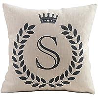 HYSENM Serie Alfabeto 26lettere 45,7x 45,7cm Décor Copriletto Cotone e Lino casa divano auto federa cuscino cover, Tessuto, S, 45 x 45 cm