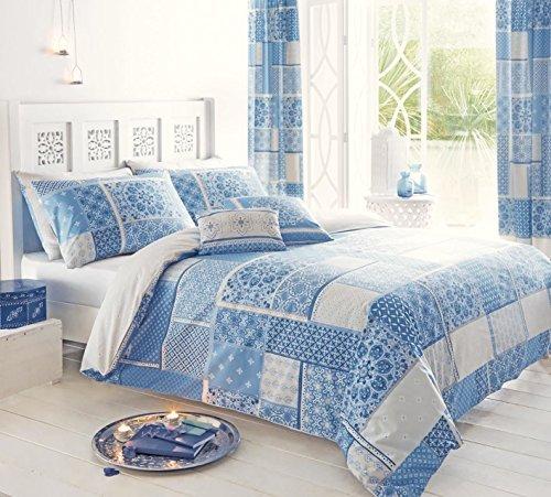 Moroccan patchwork blu grigio cotone super king copripiumino Consolatore