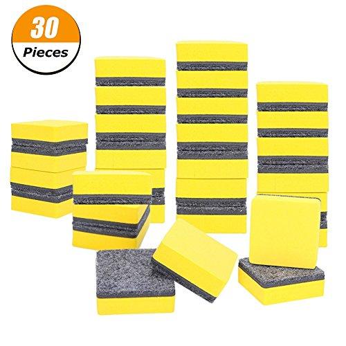 xinzistar 30Pack Magnetisches Whiteboard trocken Radierer Kreidetafel Reinigungsmittel für Klassenzimmer, Büro und Zuhause 2 x 2 Inch gelb