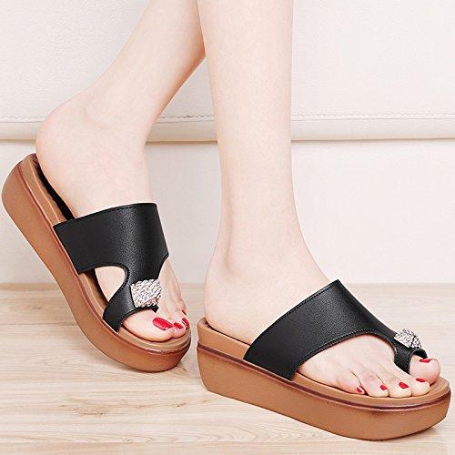 ZPPZZP Ms sandali pantofole stile Coreano selvaggi a tacco alto spessa 39EU