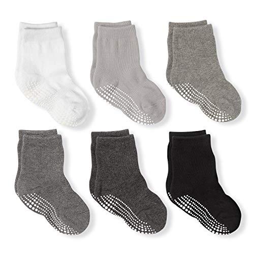 LA Active Athletic Crew Grip Socks - 6 Pairs - Baby Toddler Infant Newborn Kids Boys Girls Non Slip/Anti Skid (Grayscale, 12-36 Months) -