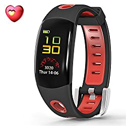 Youlpin Fitness Tracker, Bluetooth Fitness Tracker With Heart Rate Monitor Activity Bracelet Watch For Apple Ios Android Smartwatch With Sleep Monitoring Wristband Band,red Black