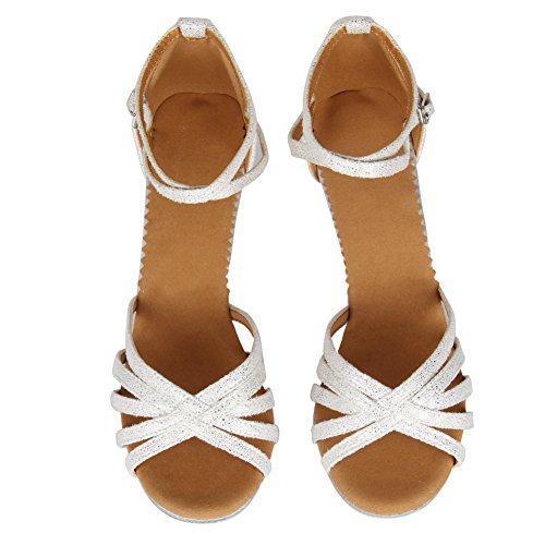 SWDZM Damen Ausgestelltes Tanzschuhe/Standard Latin Dance Schuhe Satin Ballsaal ModellD1810 Weiß 36EU/22.5CM - 5
