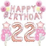 KUNGYO Zum 22. Geburtstag Dekorationen Kit-Rose Gold Happy Birthday Banner-Riesen Zahl 22 und Sterne Helium Folienballons, Bänder, Papier Pom Blumen, Latex Ballons, Elegante Party Supplies für Frauen