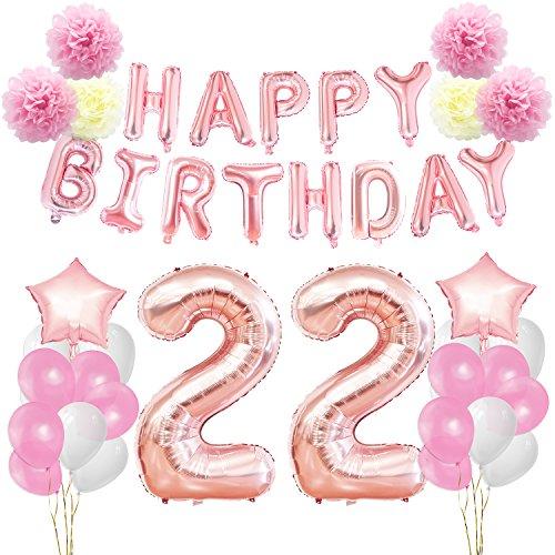 g Dekorationen Kit-Rose Gold Happy Birthday Banner-Riesen Zahl 22 und Sterne Helium Folienballons, Bänder, Papier Pom Blumen, Latex Ballons, elegante Party Supplies für Frauen (Happy Birthday Band)