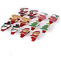 DDOQ - Pinzas de madera con diseño navideño para notas (paquete de 12)