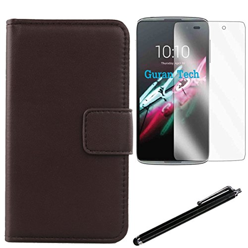 "Gukas 3in1 Set Rouge Fonce Design Veritable Cuir Case Pour Alcatel One Touch Idol 3 4.7"" 6039K Housse Coque Etui Cover Flip Protecteur Portefeuille Premium Genuine Leather Wallet Tactiles Capacitif St Marron Fonce"