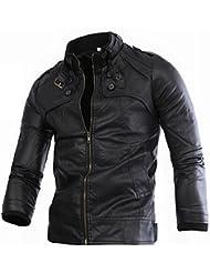 Jeansian Top De Cuero De Abrigos De Moda Para Hombre Chaqueta Mens Fashion Jacket Outerwear Leather Top 9348