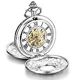 Loching – Reloj de bolsillo mecánico de lujo con esqueleto hueco, estilo retro, unisex, caja de plata, colgante con cadena de regalo