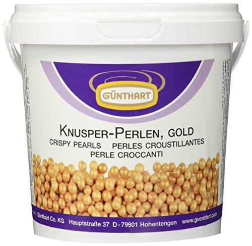 Günthart Essbare Knusper Perlen in der Farbe gold, 1er Pack (1 x 500 g)
