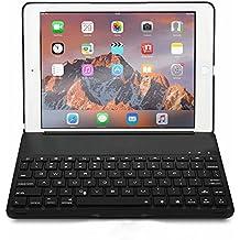 Teclado Bluetooth Con Funda Plegable para iPad Pro 9.7 Pulgadas con 7 Colores de LED Retroiluminación, Bluetooth Teclado Inalámbrico QWERTY de Funda Pliego, Carcasa Teclado Universal Súper Delgado Con Base de Aluminio Aleado y Rotación 130° Grados, Teclado Iluminado con Carcasa para iPad Pro 9.7 Pulgadas (Negro)