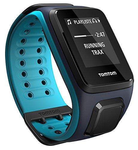 tomtom runner 2 music orologio gps con auricolari bluetooth, lettore musicale integrato, cinturino grande, blu/azzurro