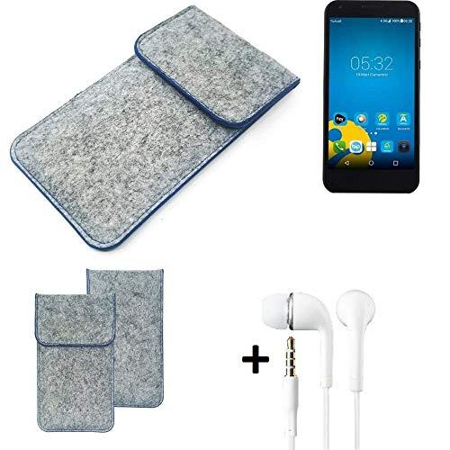 K-S-Trade® Filz Schutz Hülle Für Vestel 5000 Dual-SIM Schutzhülle Filztasche Pouch Tasche Handyhülle Filzhülle Hellgrau, Blauer Rand + Kopfhörer