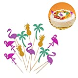 BESTOMZ 12 Stück Hawaii Cake Toppers Flamingo Ananas Deko Picker für Luau-Beach-Party