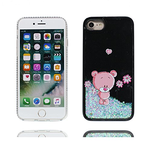 iPhone 7 Plus Custodia, 3D Bling che scorre liquido scintillante disegno rigido TPU indietro Case Cover Copertura per iPhone 7 Plus 5.5 - Labbra rosse - Graffi Resistenti # 5