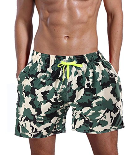 QRANSS Men's Swim Trunks Beach Surf Shorts (XL(Waistline=42-44inch), Camo) -