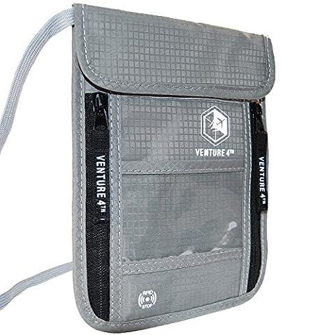 Pochette Tour de Cou Voyage Protection Pickpockets – Anti Vol Informations Carte Bancaire Sans Contact Ideal Cadeau Voyage Noel (Argent)