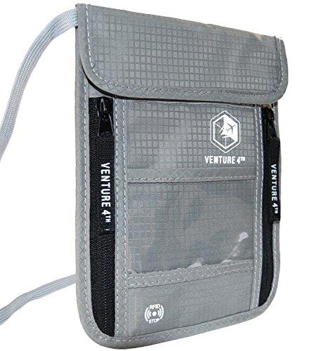 Borsello da Viaggio da Portare al Collo con Protezione RFID Portapassaporto Portafoglio da Viaggio Organizer e Custodia Documenti Antifurto (Argento)