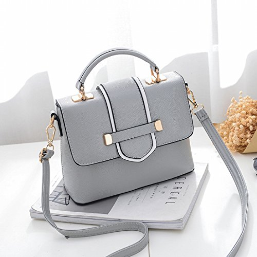Art und Weise Einfache Kleine Quadratische Tasche Damen Schultertasche Messenger Bag Grau