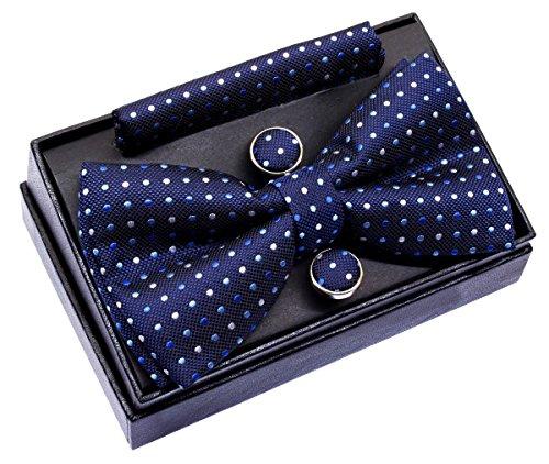 Retreez Herren Gewebte vorgebundene Fliege Drei Farben Punkt-Muster 13 cm und Einstecktuch und Manschettenknöpfe im Set, Geschenkset, Weihnachtsgeschenke - marineblau