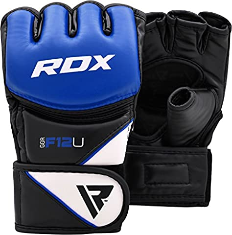 RDX Maya Hide Leather Grappling MMA Gloves UFC Cage Fighting Sparring Glove Training F12 - Large,