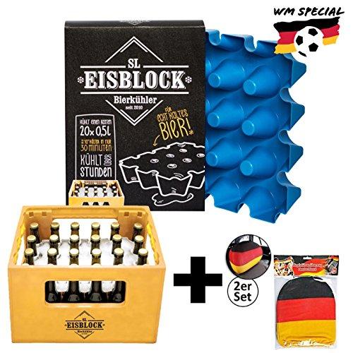 sl-Eisblock Bierkühler 0,5l Flaschen - Eis, Getränkekühler für Den Bierkasten, Kasten Made in Germany inkl. Deutschland Kopfstützenbezug für Das Auto (Wm-flasche)