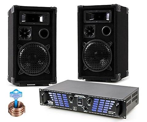 1200W Beschallungsanlage PA Boxen Lautsprecher Endstufe Verstärker Zubehör DJ-180 (Pro Pa Lautsprecher)